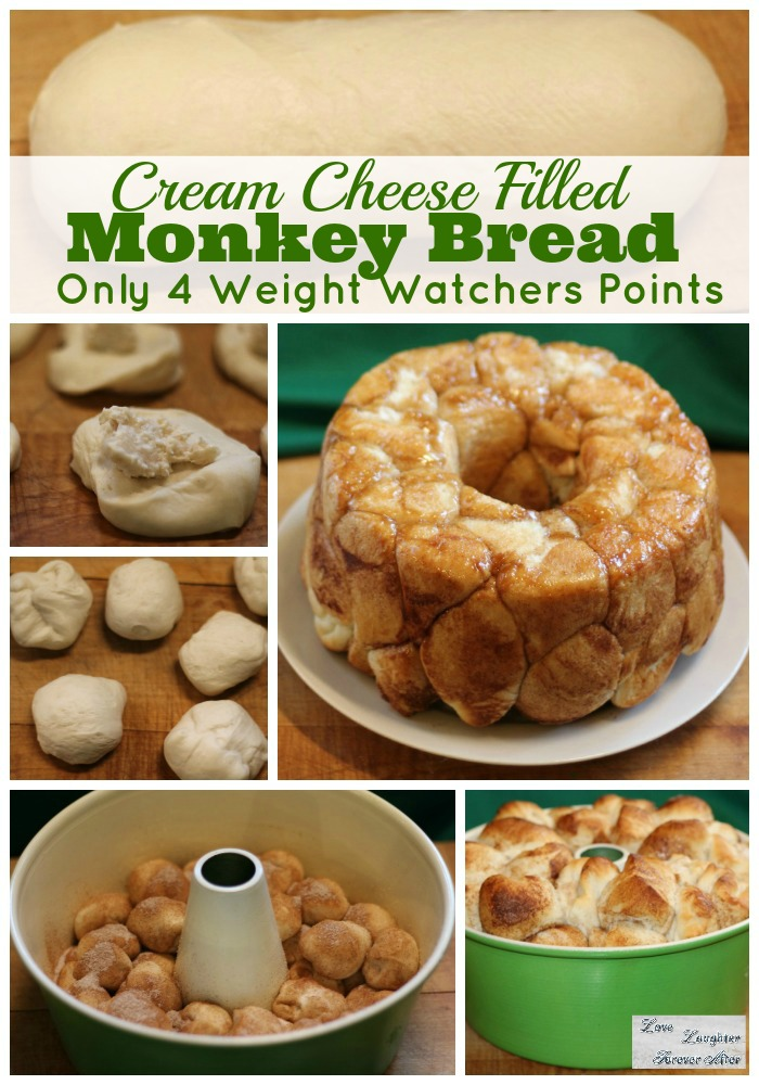This monkey bread recipe with cream cheese is great to serve for breakfast and one serving is only 4 weight watchers points.
