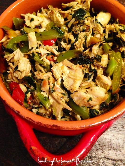 Chicken with Kale and Tri Color Peppers Recipe