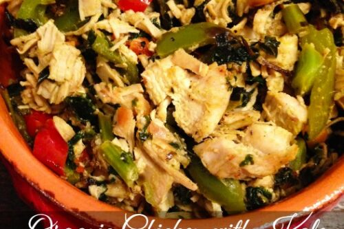 Organic Chicken with Kale and Tri Color Peppers Recipe