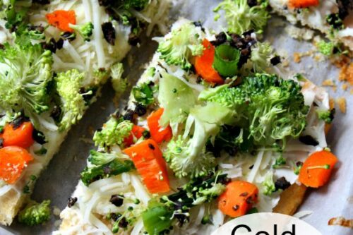 cold cream cheese veggie pizza