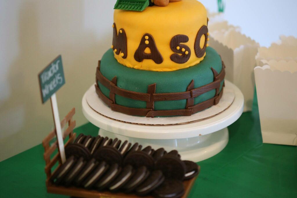 tractor party cake