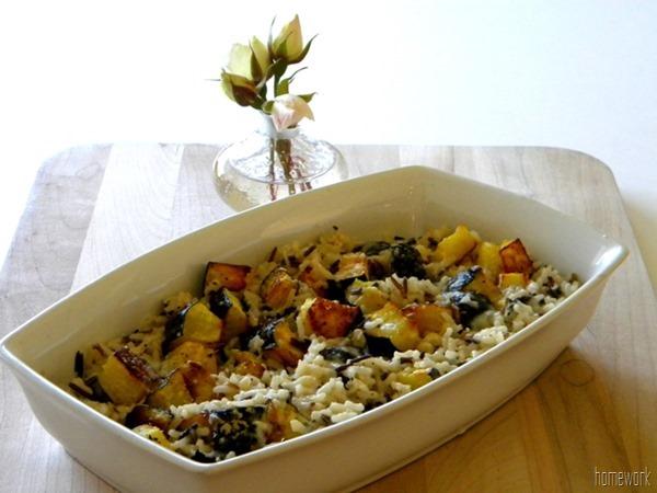 acorn, squash, and wild rice casserole