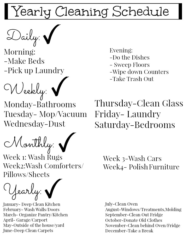 house cleaning schedule free easy to use printable yearly cleaning schedule 31078