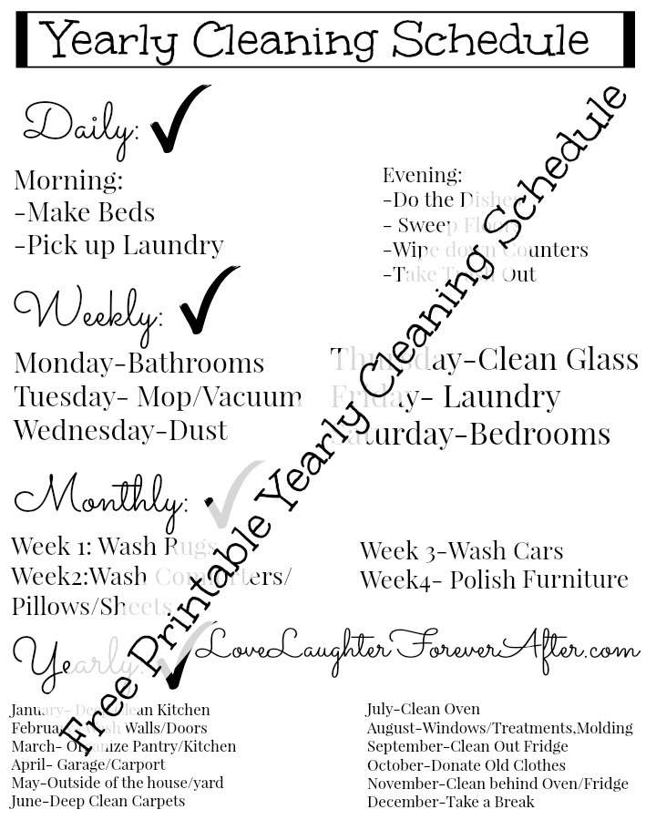 Free Easy To Use Printable Yearly Cleaning Schedule