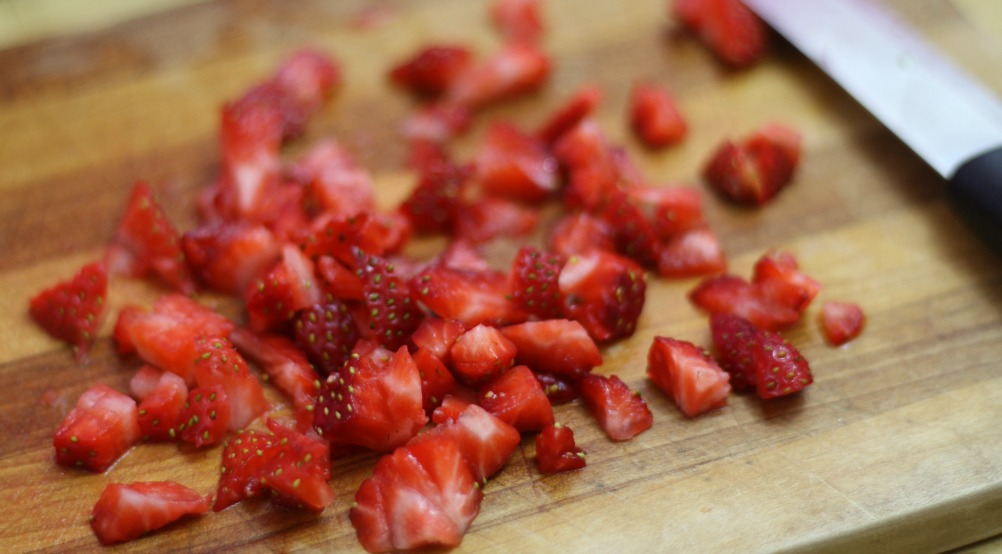 diced strawberries